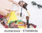 beauty skin face set cosmetics... | Shutterstock . vector #573408436
