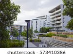 apartment buildings at rhodes... | Shutterstock . vector #573410386