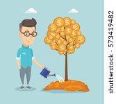caucasian business man watering ... | Shutterstock .eps vector #573419482