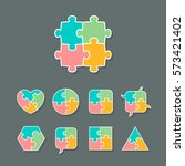 set of different shapes made of ... | Shutterstock .eps vector #573421402