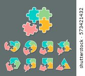 set of different shapes made of ... | Shutterstock .eps vector #573421432