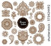 henna tattoo  mandala  flofers  ... | Shutterstock . vector #573424492