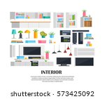 set of colorful living room... | Shutterstock .eps vector #573425092