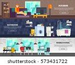 a set of modern furniture... | Shutterstock .eps vector #573431722