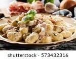 potato gnocchi  italian potato... | Shutterstock . vector #573432316