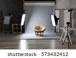 photo studio with lightning... | Shutterstock . vector #573432412