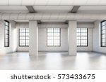 empty loft room with white... | Shutterstock . vector #573433675
