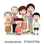 3d illustration  big family... | Shutterstock . vector #573435706