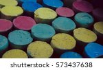 colorful chalk pastels in box... | Shutterstock . vector #573437638