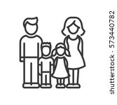 two children family   vector... | Shutterstock .eps vector #573440782