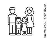 two children family   vector... | Shutterstock .eps vector #573440782