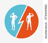 brain vs strength. conflict of... | Shutterstock .eps vector #573444982