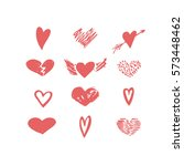 vector hand drawn hearts icon...