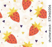 strawberry pattern. | Shutterstock .eps vector #573460306