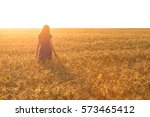 Girl At The Wheat Field In...
