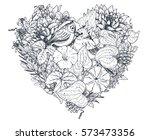 floral heart. bouquet... | Shutterstock .eps vector #573473356