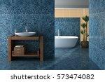 blue bathroom including bath... | Shutterstock . vector #573474082