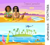 Stock vector tropical beach banner paradise island for rest travel to hawaii tahiti two surfers on beautiful 573479686