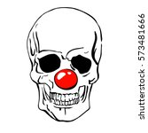 clown skull. dead clown face... | Shutterstock .eps vector #573481666