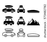 car roof box  rack or carrier... | Shutterstock .eps vector #573482782
