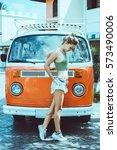 beach lifestyle  beautiful... | Shutterstock . vector #573490006