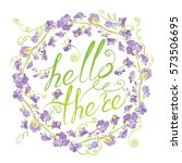 decorative handdrawn floral... | Shutterstock . vector #573506695