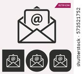 mail   black and white icons.... | Shutterstock .eps vector #573521752