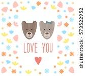 doodle cartoon bears.... | Shutterstock . vector #573522952