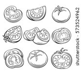hand drawn tomato set.... | Shutterstock .eps vector #573524962