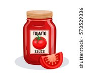 tomato sauce glass jar. vector... | Shutterstock .eps vector #573529336