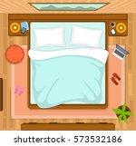 bedroom with empty bed top view   Shutterstock .eps vector #573532186