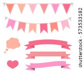 set of pink flat buntings... | Shutterstock .eps vector #573533182