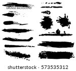 set of black ink grunge brush... | Shutterstock .eps vector #573535312