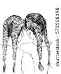 french braid girls  | Shutterstock .eps vector #573538198