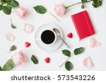 romantic still life   cup of... | Shutterstock . vector #573543226