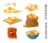 salty fried potato chips snacks ... | Shutterstock .eps vector #573545188