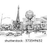 Stock vector las vegas city hand drawn usa nevada street sketch vector illustration 573549652