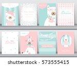 set of baby shower invitation... | Shutterstock .eps vector #573555415