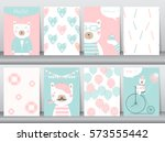 set of cute animals poster ... | Shutterstock .eps vector #573555442