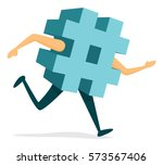 cartoon illustration of hashtag ... | Shutterstock .eps vector #573567406