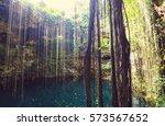 ik kil cenote   mexico | Shutterstock . vector #573567652