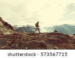 hiking man in canadian... | Shutterstock . vector #573567715