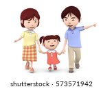 3d illustration  family walk... | Shutterstock . vector #573571942