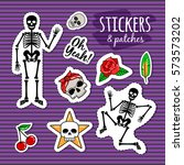 skeleton and skull colorful... | Shutterstock .eps vector #573573202