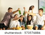 young fans watching rugby match ... | Shutterstock . vector #573576886