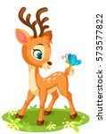 cute baby deer and butterfly | Shutterstock .eps vector #573577822