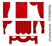 red velvet stage curtains ... | Shutterstock .eps vector #573580906