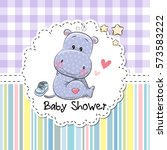 baby shower greeting card with... | Shutterstock .eps vector #573583222