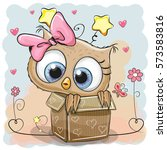 valentine card with a cute owl... | Shutterstock .eps vector #573583816