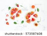 fruit pizza made of watermelon  ...   Shutterstock . vector #573587608